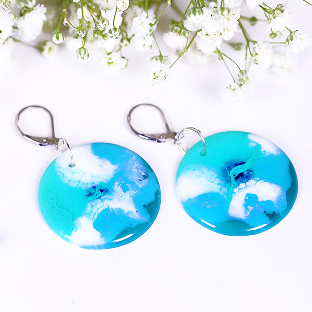Ocean Blue Green waves Resin Earrings