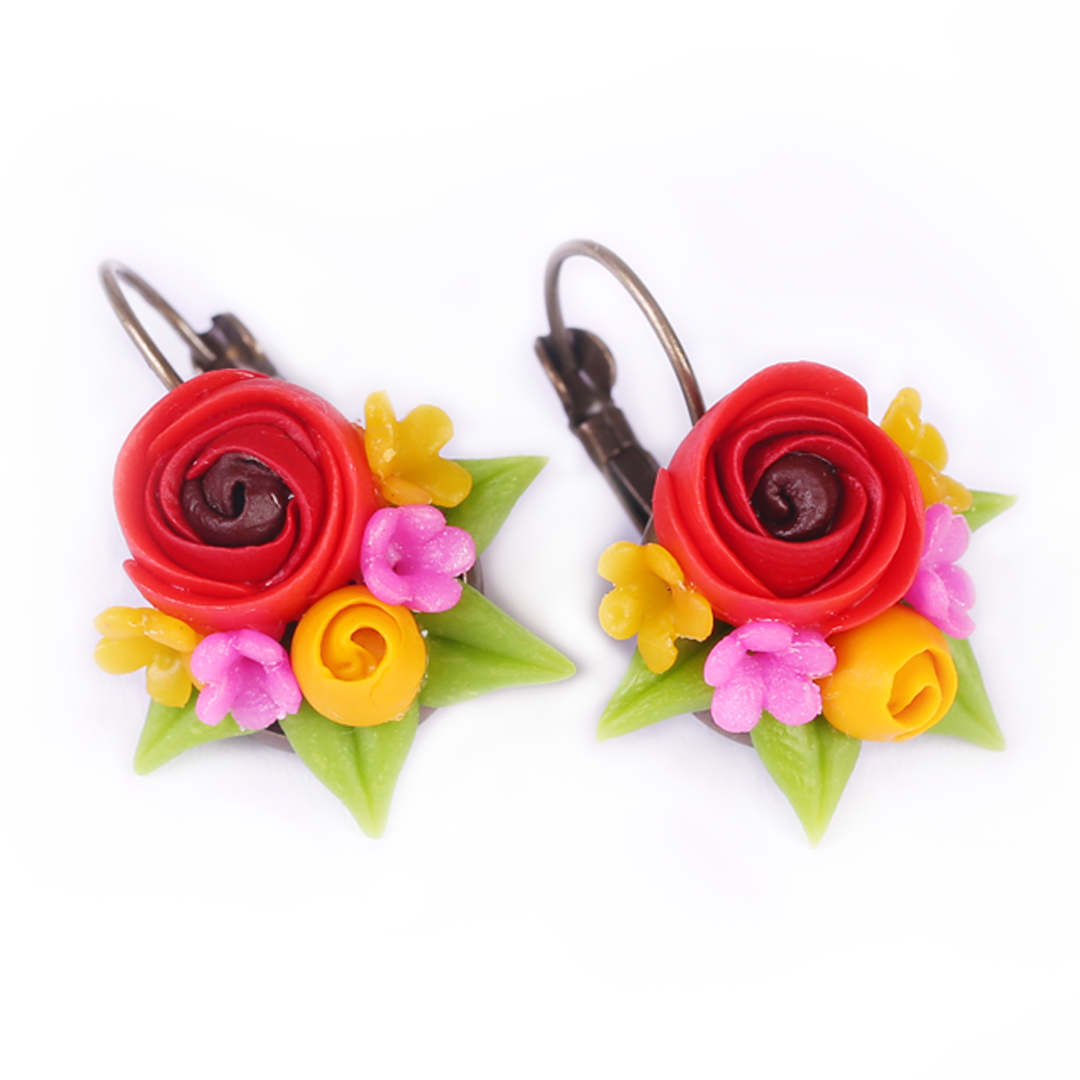 Only Love Red Yellow Rose Earrings