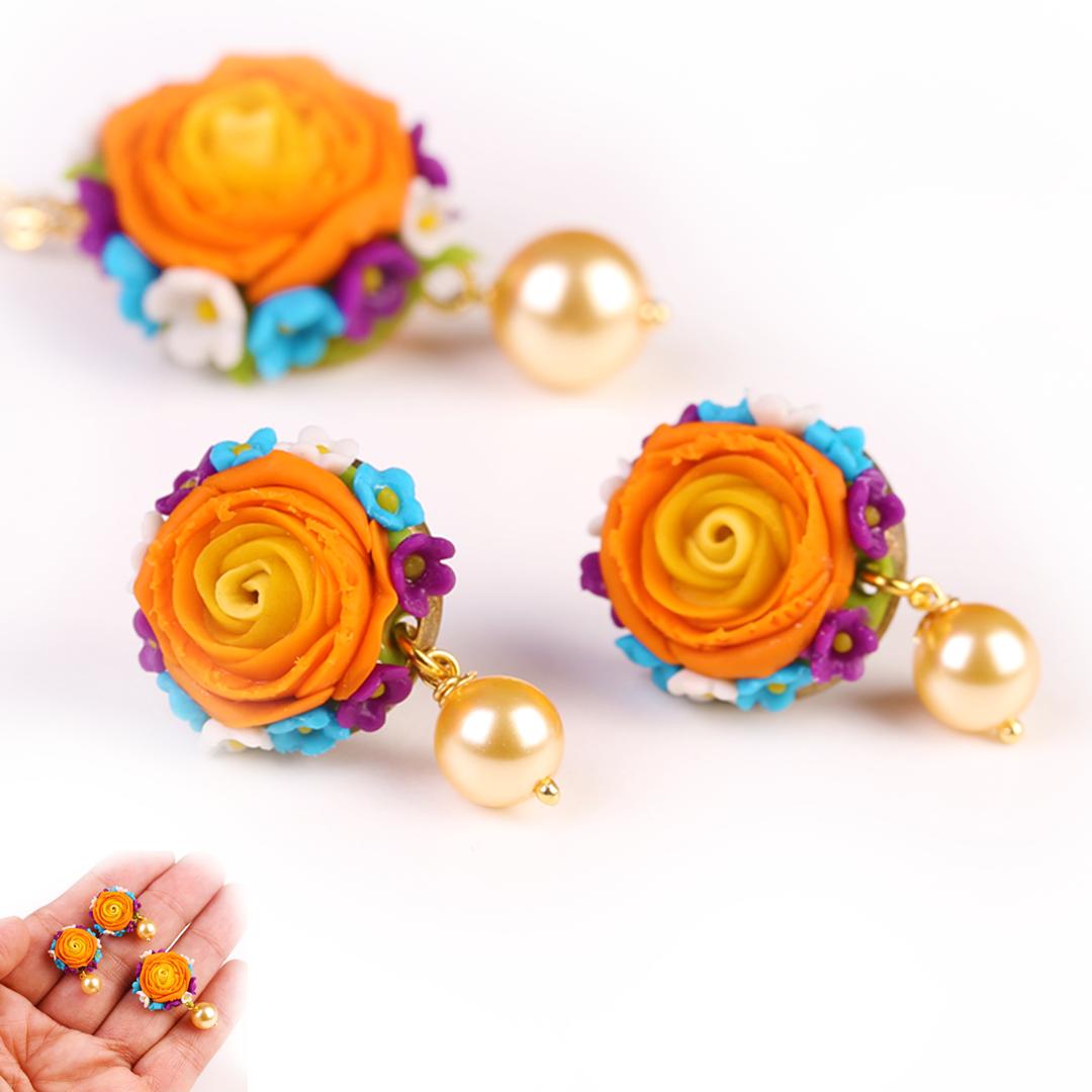Orange Rose Stud and Pendant