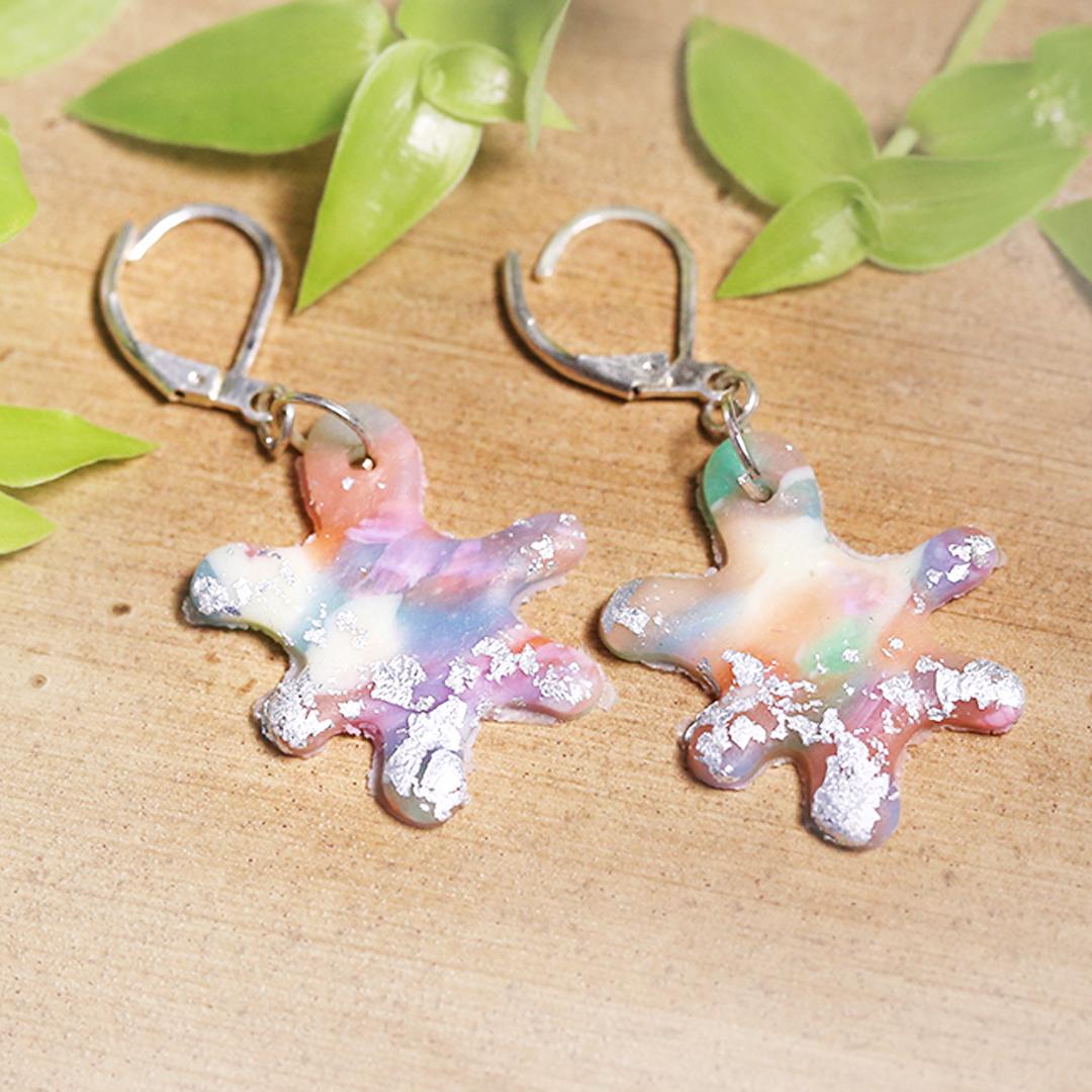 Pastel Silver Curvy Earrings