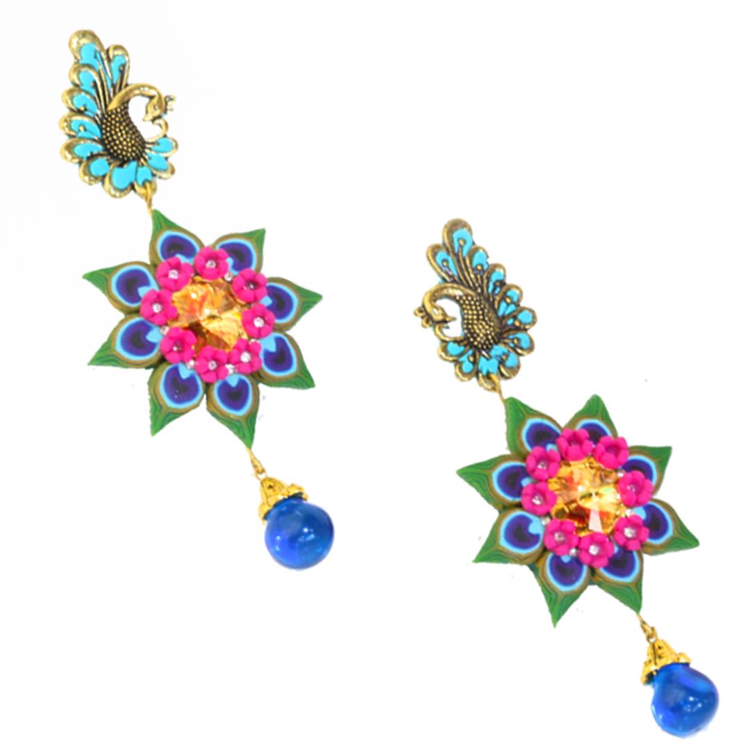 Peacock Feather Earrings &Swarovski Crystal