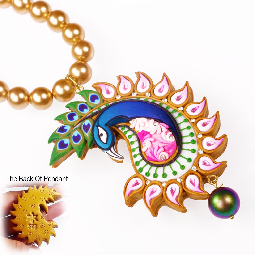 Peacock Pendant and Swarovski Pearls