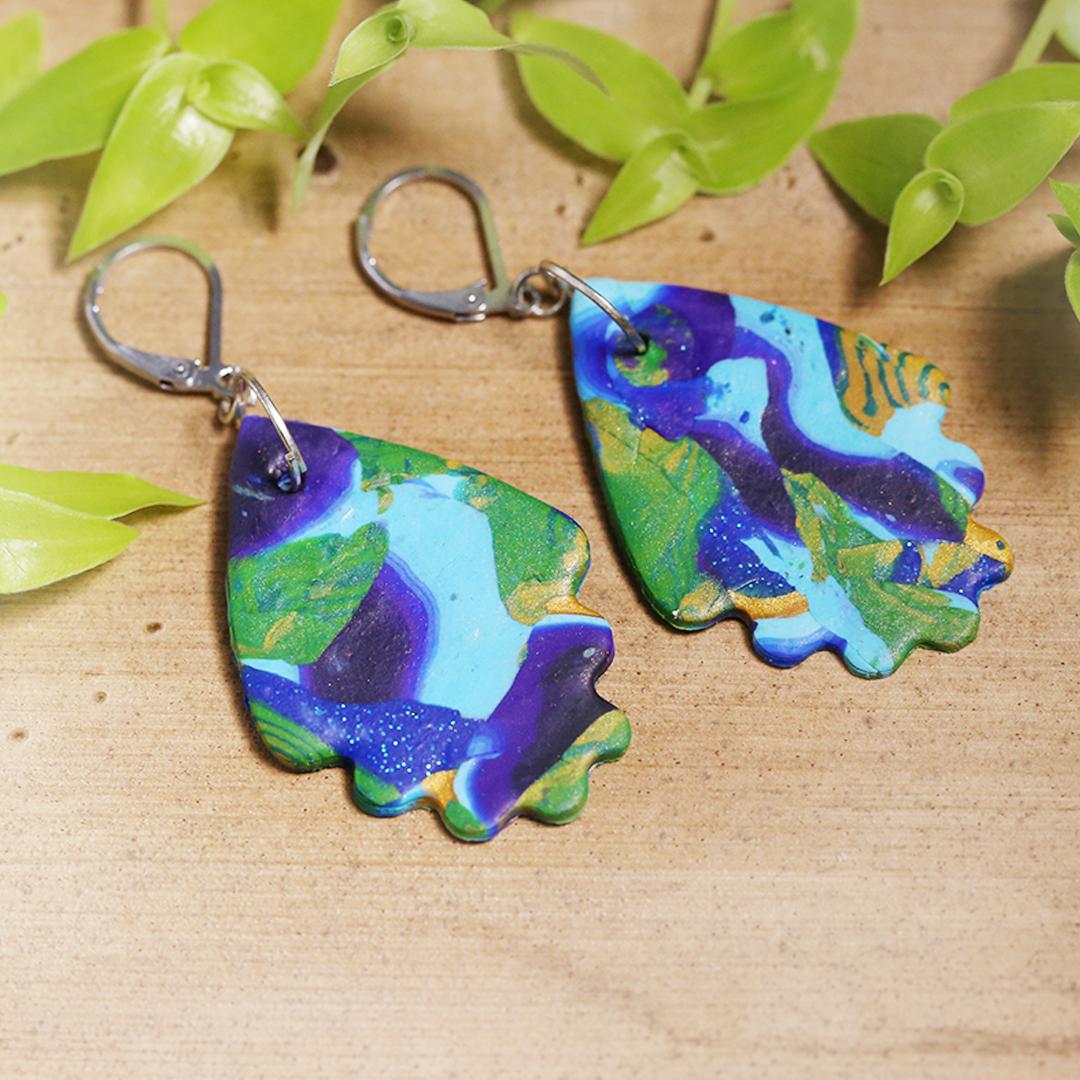 Peacock Shade Abstract Earrings