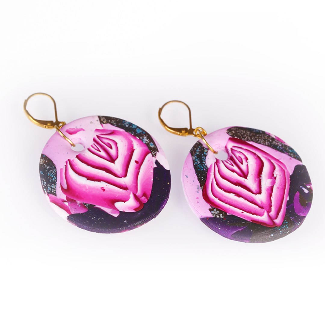 Pink Black Abstract Earrings