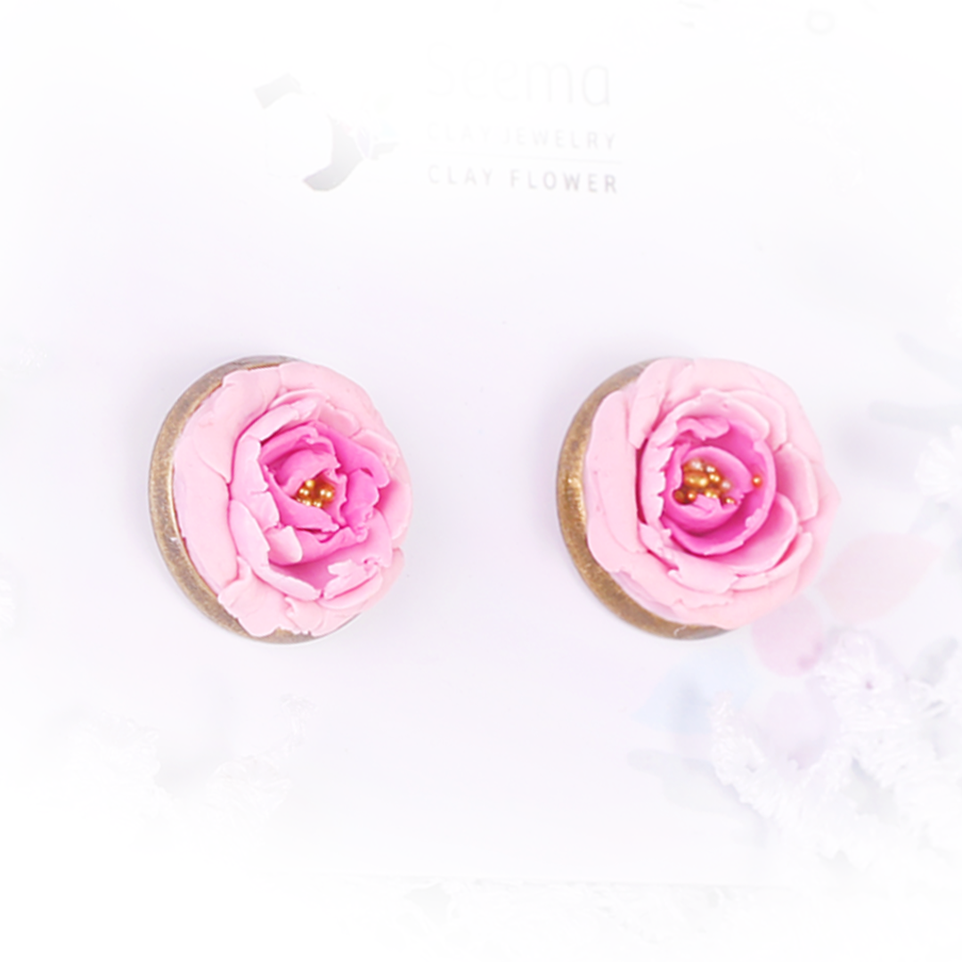 Pink Peony Rose Studs