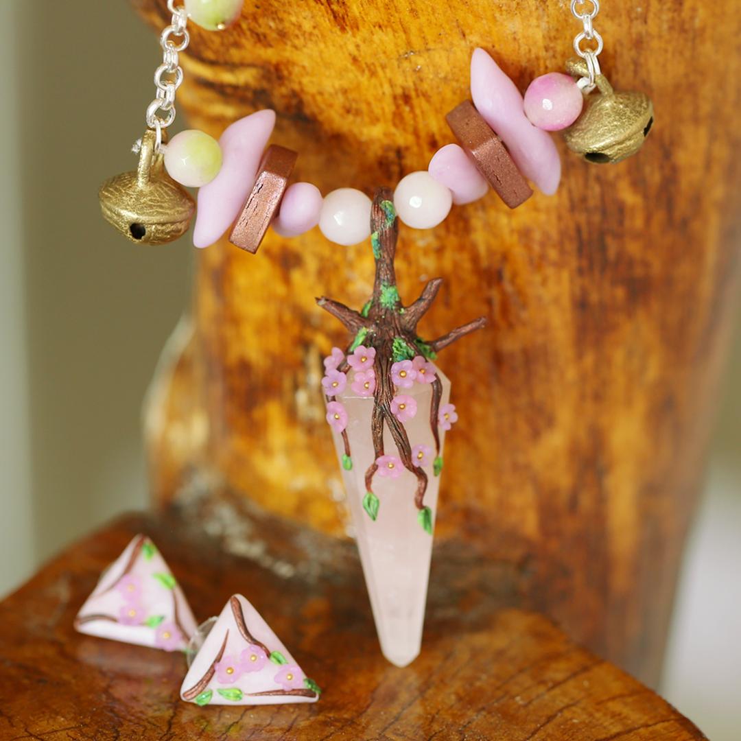 Pink Rose Quartz Cherry Blossom Studs & Pendant
