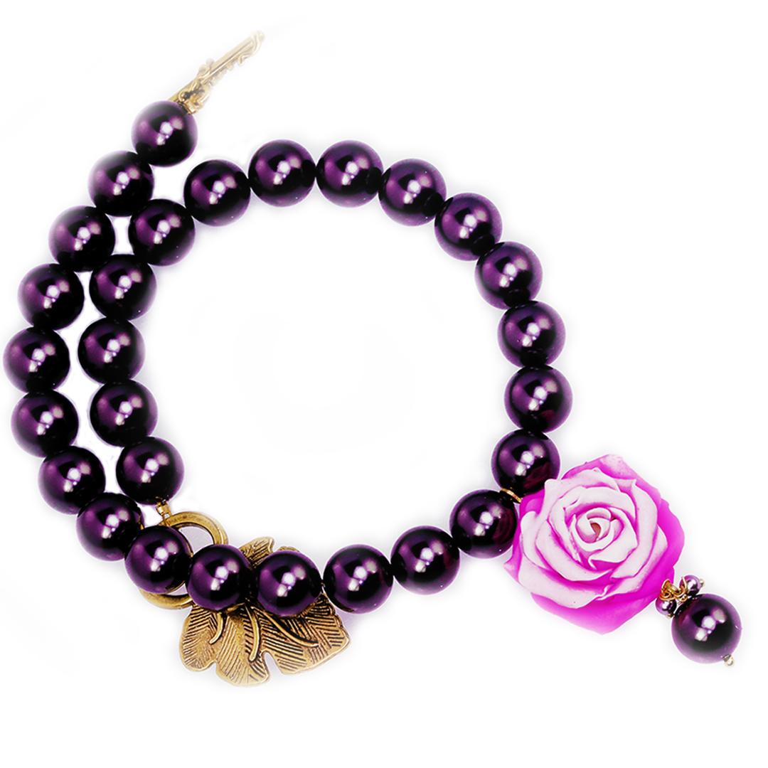 Pink Rose and Black Swarovski Pearl Bracelet
