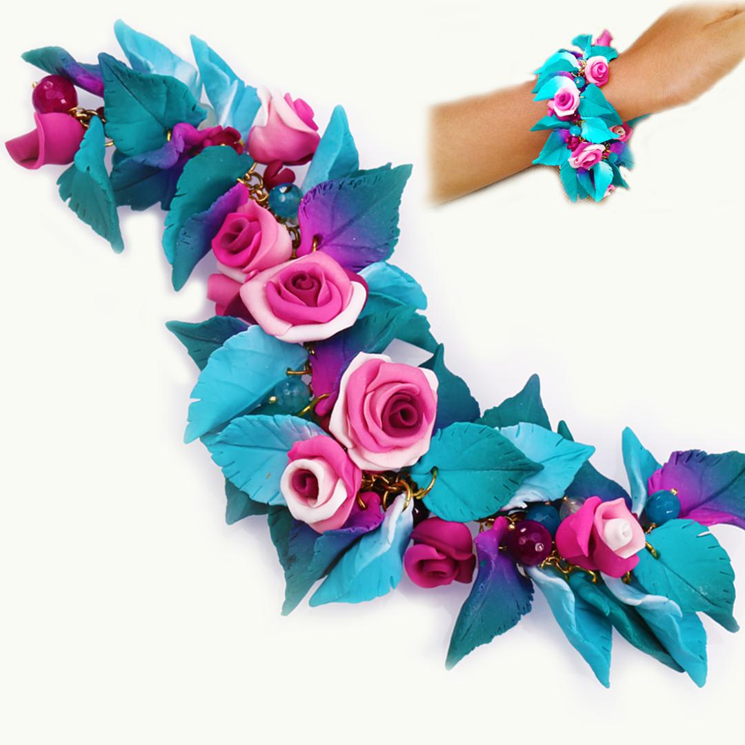 Pink Rose and Blue Leaf Bracelet