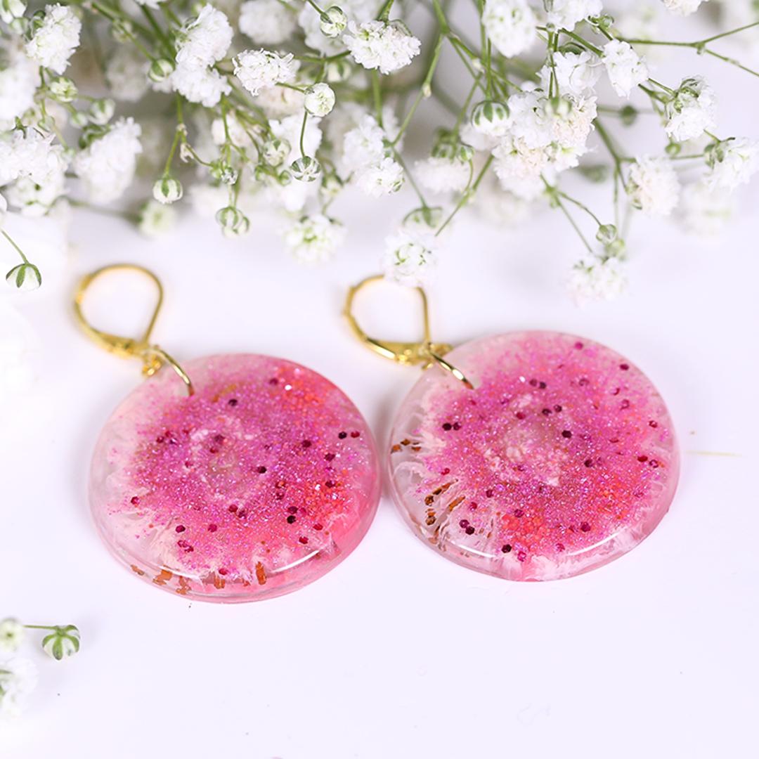 Pink Sparkling Burst Resin Earrings