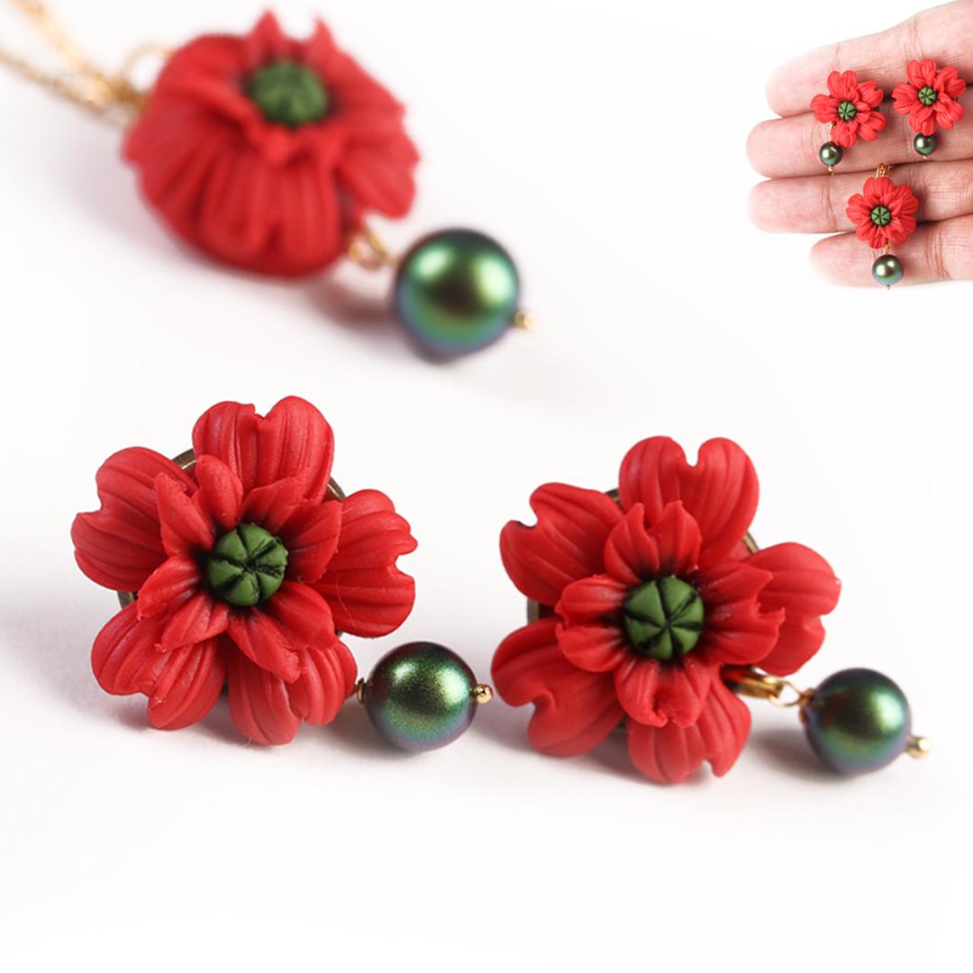 Poppy  Red  Flower Studs