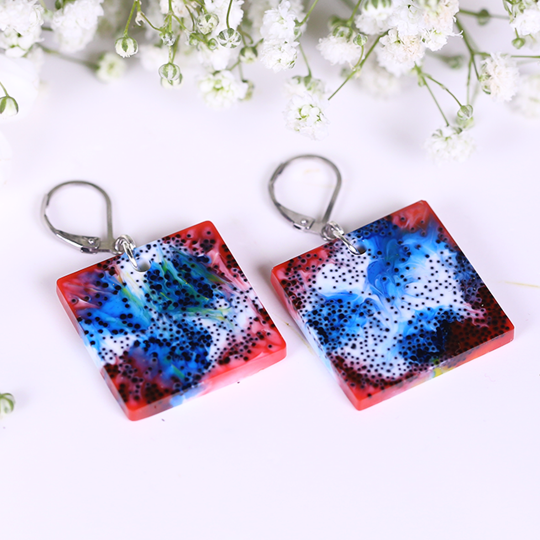 Red Blue Fire Black Particles Cosmos Resin Earrings