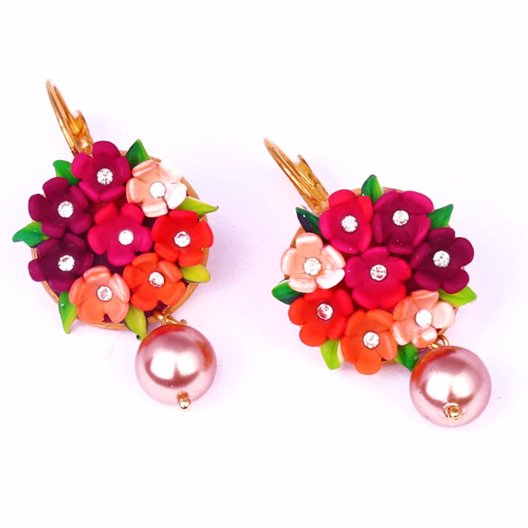 Maroon Orange Flowers & Rose Gold Swaroski Pearl