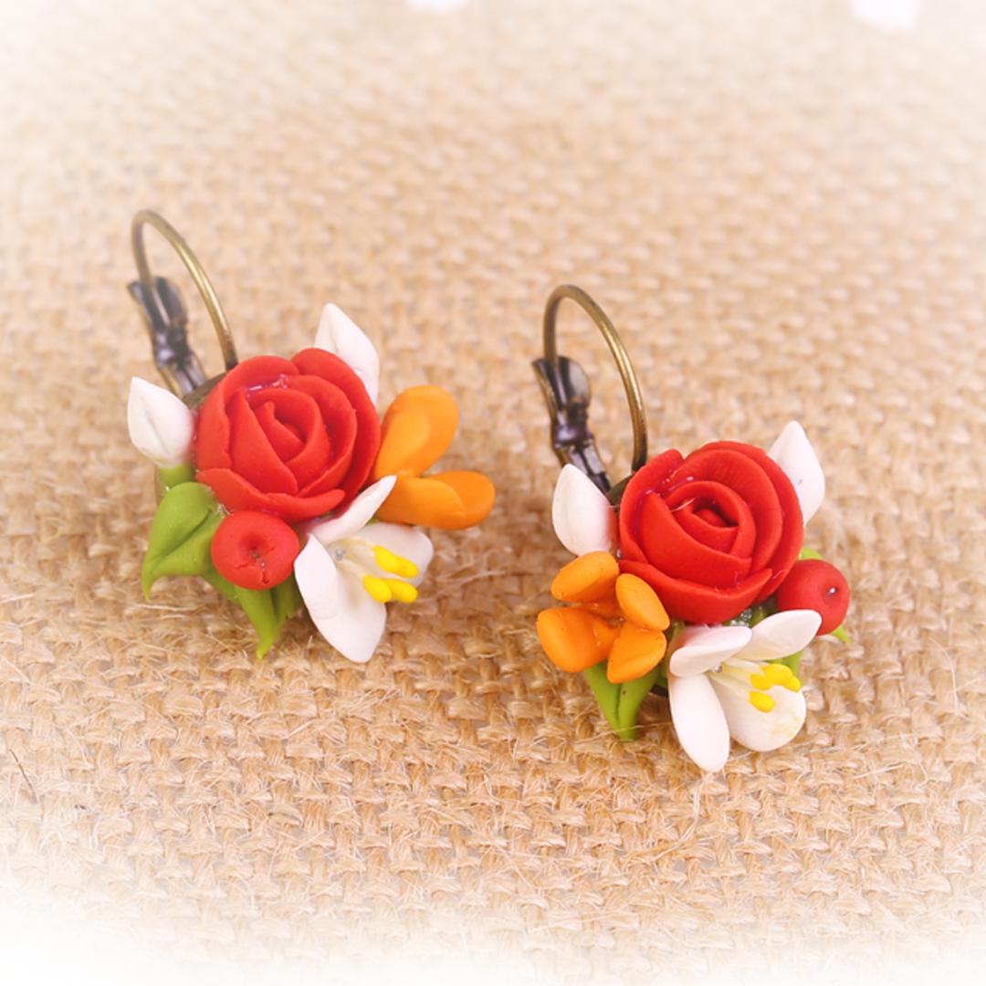 Red Valentine Rose Earrings