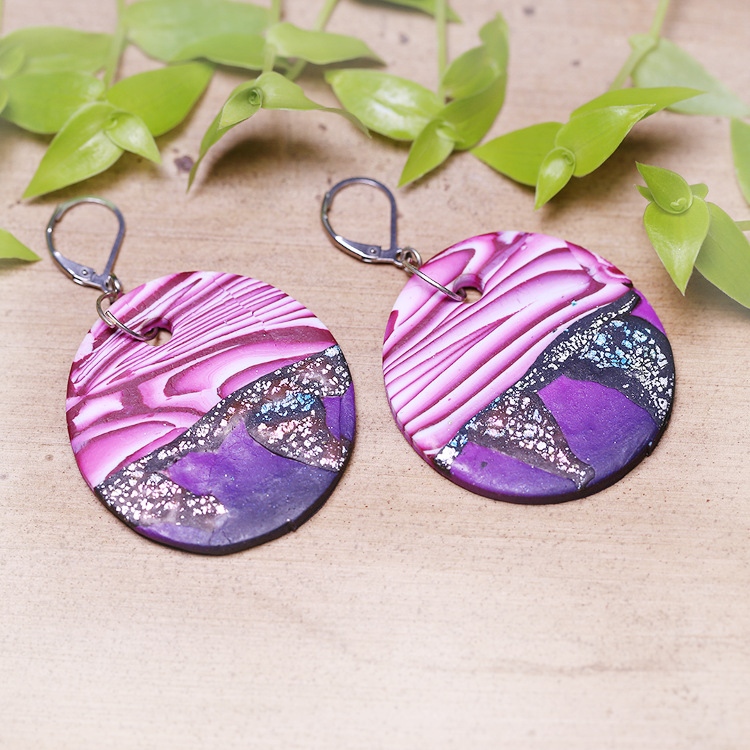 Round Pink Black Abstract Earrings