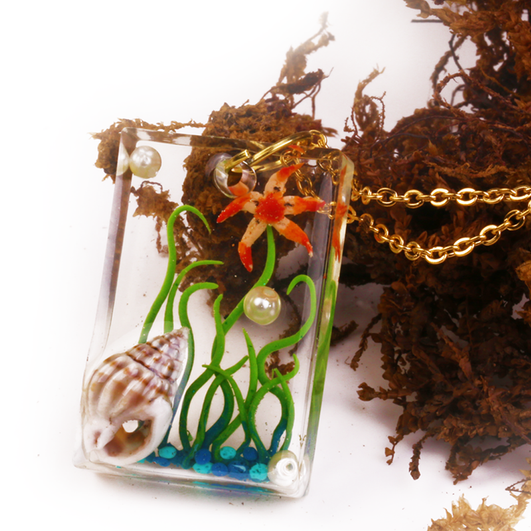 Sea World Trapped in Glass Resin Pendant