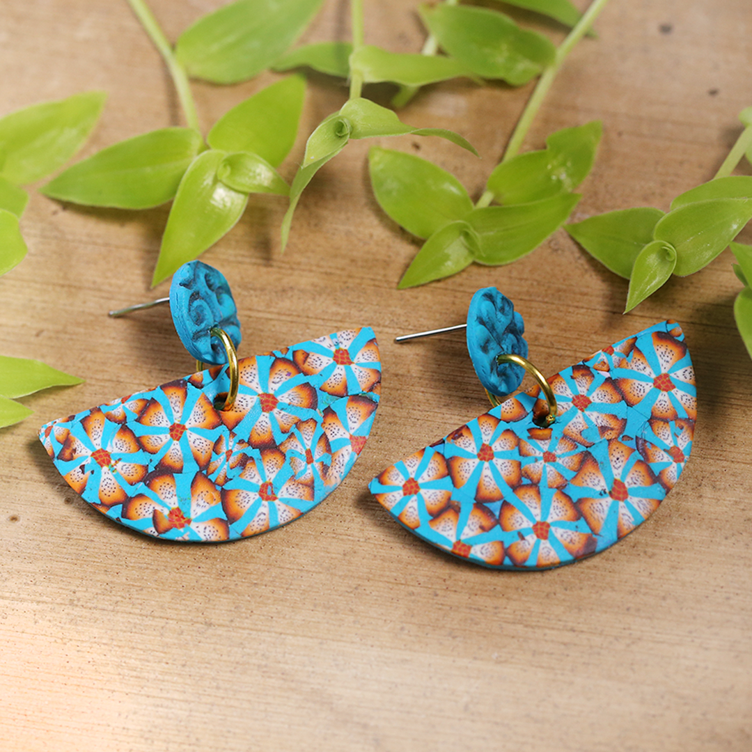 Semi Round Floral Earrings