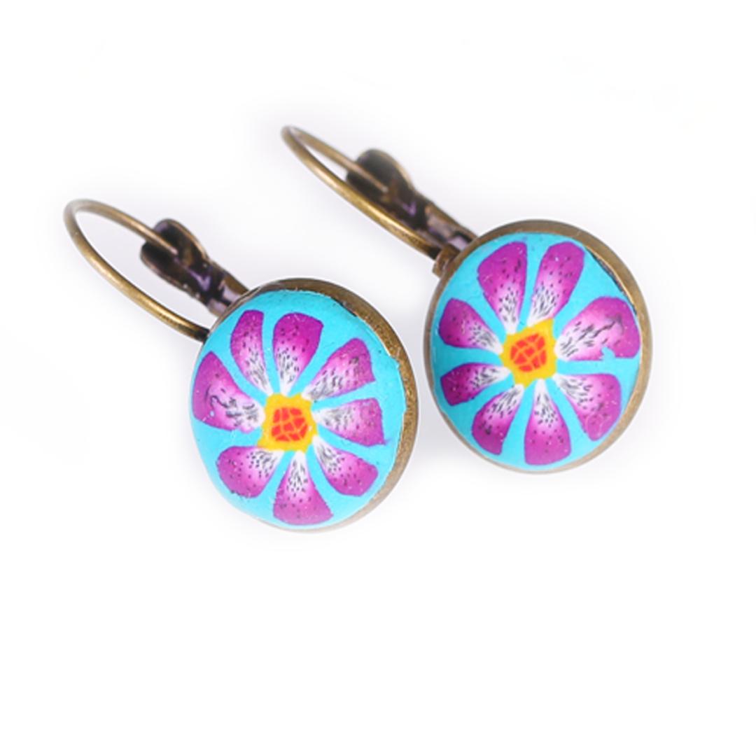 Sky Blue Purple Flower Bezel Earring