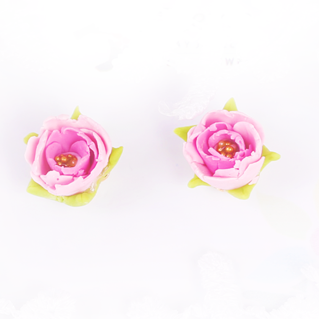 Small Pink Peony Rose Studs