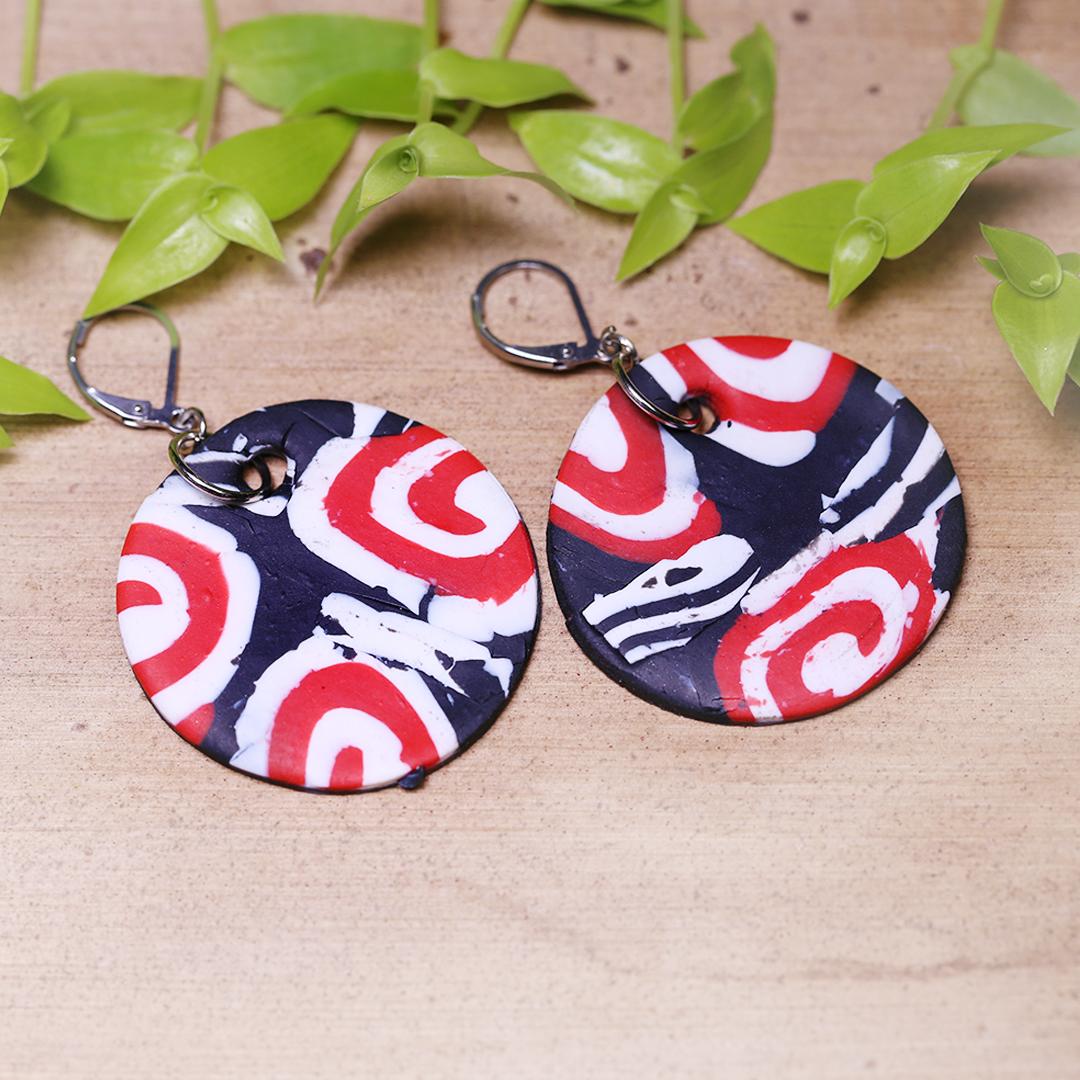 Spiral Red White Black Earrings