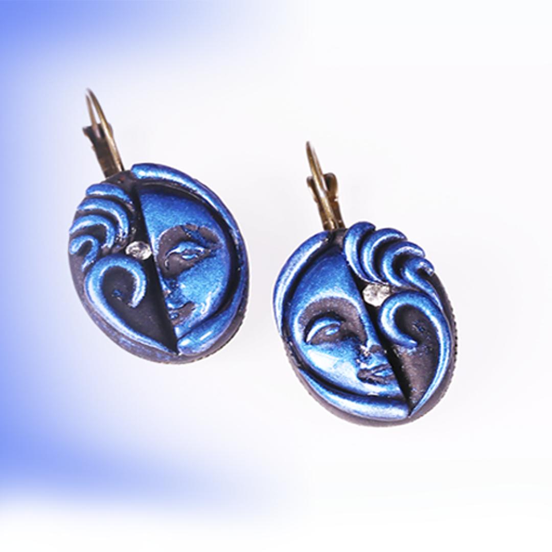 Teri Meri Kahani Blue Tribal Face Earrings