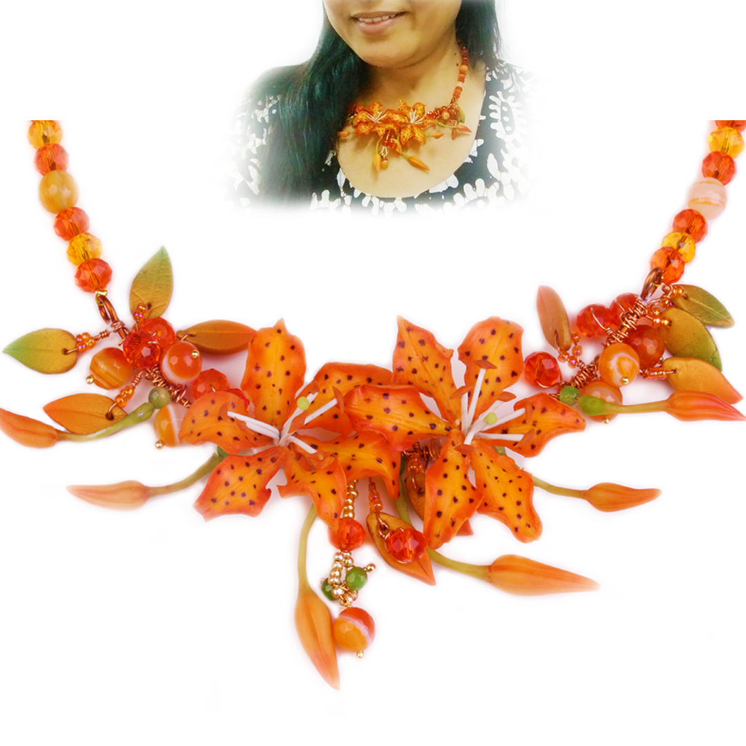 Tiger Lilly Orange Necklace