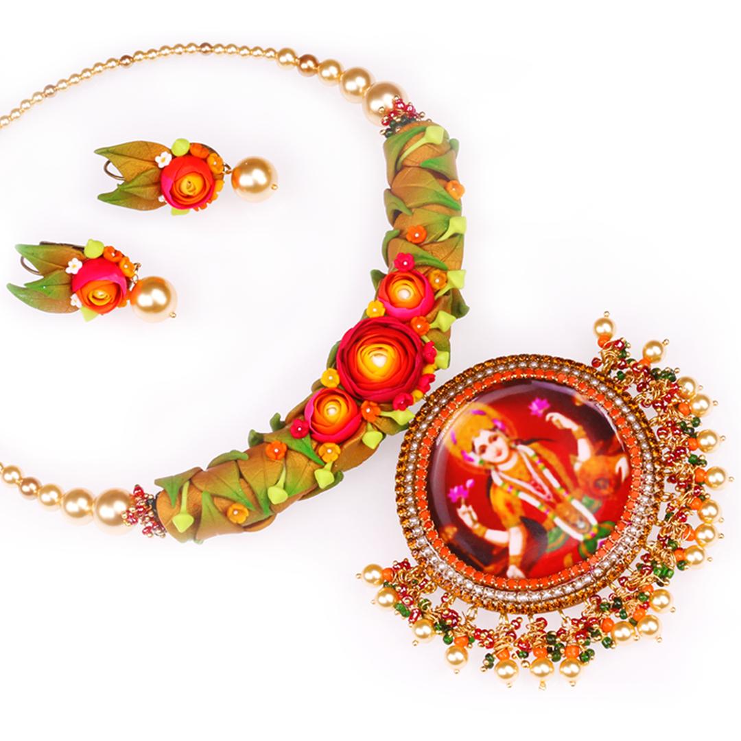VaraLakshmi Godess Red Rose Leaf Pearls