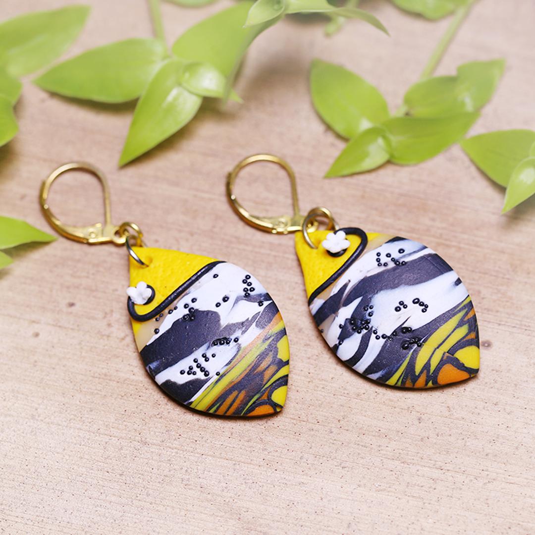 Yellow Black White Oval Earrings