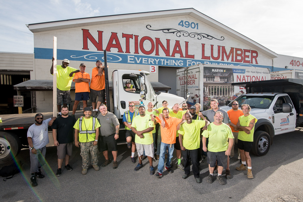 national lumber delivery team trucks