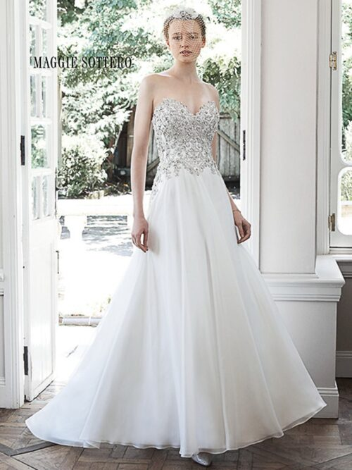 organza a-line wedding dress