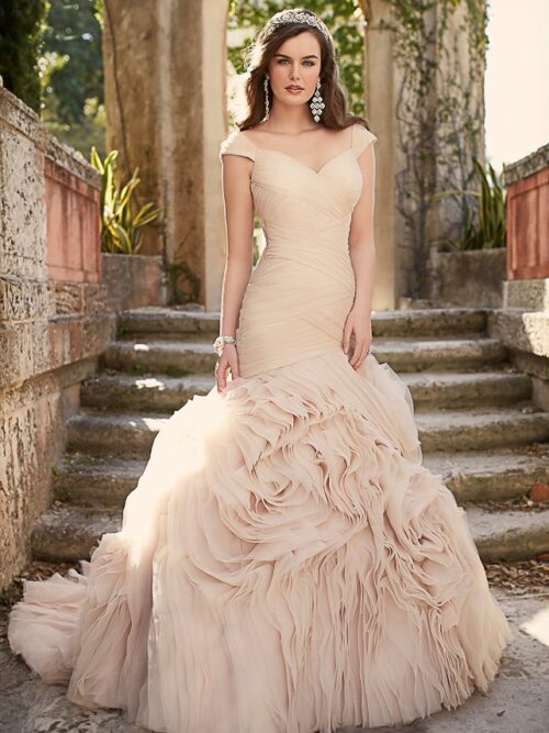 Organza, pleated trumpet wedding dress