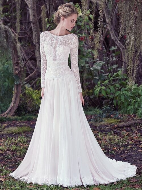 boho-chic sleeved sheath wedding dress