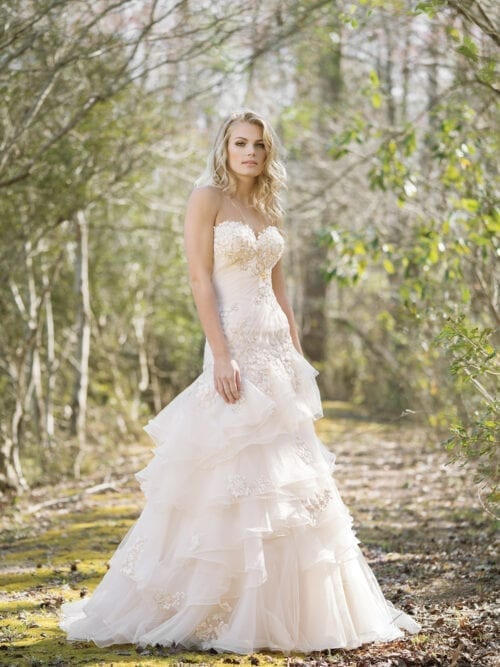 Drop waist a-line, tiered ruffle and lace wedding dress