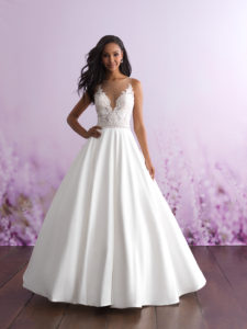 lace mikado ball gown wedding dress