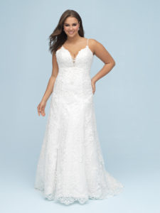This slim, A-line gown is adorned with sweet beaded straps and a delicate keyhole sweetheart neckline.