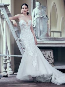 lace and tulle fit and flare wedding dress