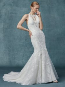 boho-chic fit-and-flare wedding gown