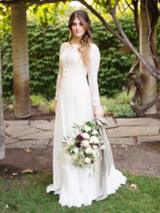 boho-chic sleeved sheath wedding dress