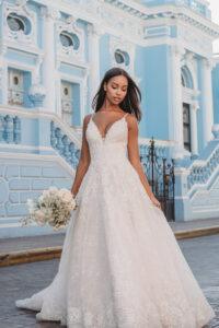 beaded lace a-line wedding dress