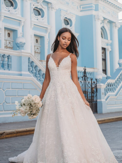 beaded lace a-line wedding dress