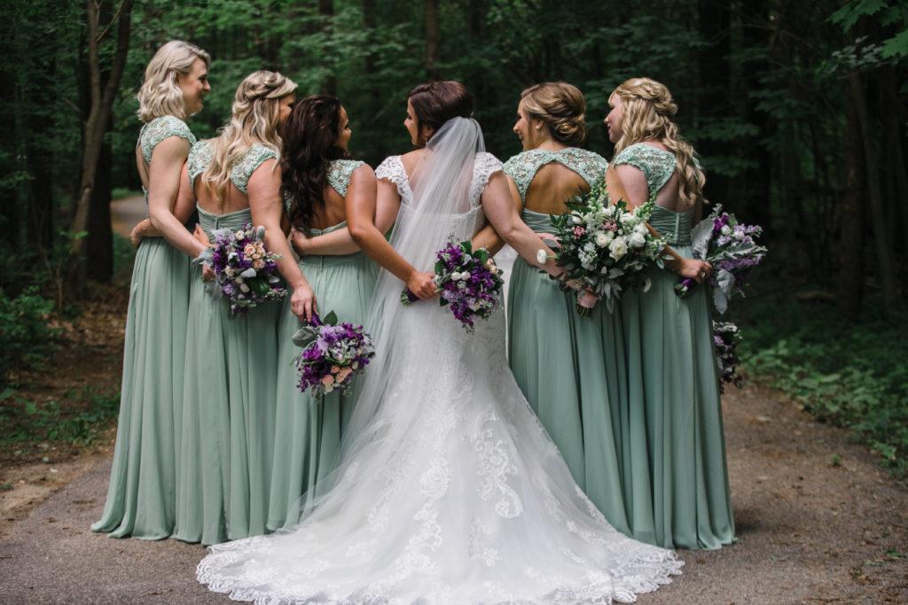 pastel wedding bridesmaids dress lace open back