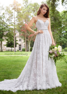 aline a line wedding dress with deep back beaded and lace Martin Thornburg wedding dress