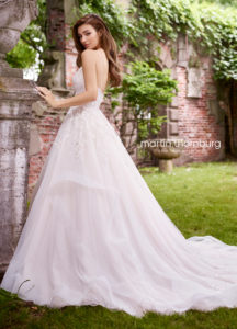 Martin Thornburg wedding dress ball gown lace with layered tulle skirt strapless