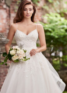Martin Thornburg wedding dress ball gown lace with layered tulle skirt spaghetti straps