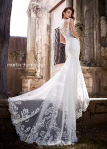 fitted martin thorn burg wedding dress with shoulder straps and lace