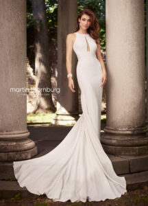 fitted martin thorn burg wedding dress with shoulder straps and lace plunging neckline