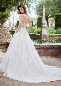 Martin Thornburg wedding dress ball gown lace with long sleeves and tulle skirt