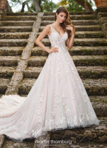 Martin Thornburg wedding dress ball gown lace with straps