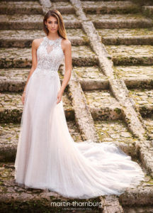 aline a line wedding dress with deep back beaded and lace Martin Thornburg wedding dress high neck line lace