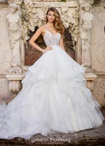 Martin Thornburg wedding dress ball gown lace with layered skirt