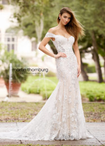 fitted martin thorn burg wedding dress with off the shoulder straps and lace